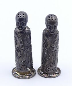 Antique Chinese Li Sheng Sterling Silver Figural Salt And Pepper Shaker