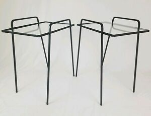 Mid Century Iron Stacking Patio Tables Glass Top With Hairpin Leg Vintage Retro