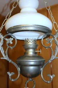 Antique Vintage French Pewter Glass Lamp Ceiling Light Opaque White Glass Shade