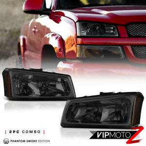 03 06 Silverado Avalanche Titanium Smoke Headlight Lamp Lh Rh W Amber Assembly