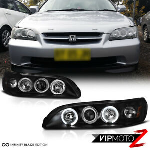 Black Projector Headlight Led Angel Eye Amber Signal Lamp For 98 02 Honda Accord