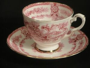 Vintage English Bone China Teacup Royal Stafford Queen S Red Teacup And Saucer