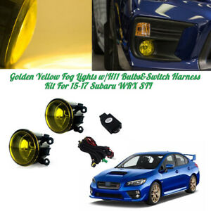 Golden Yellow Fog Lights W H11 Bulbs Switch Harness Kit For 15 17 Subaru Wrx Sti