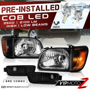 cree Led Bulb Installed For 01 04 Toyota Tacoma Black Headlight Fog Assembly