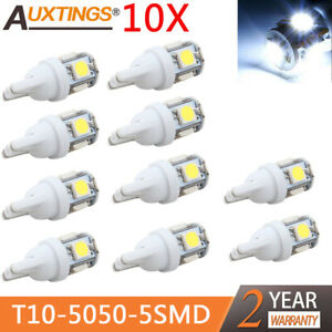 10x Lot T10 5050 5smd Led White Light Car Side Wedge Tail Light Lamp Bright 2019