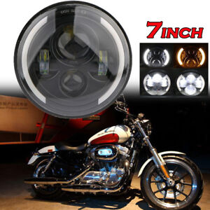 7 Inch Led Headlight Projector Drl Motorcycle For Harley Dyna Cafe Racer Bobber