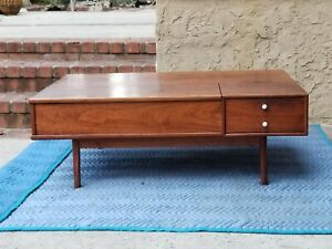 Mid Century Modern Walnut Flip Top Coffee Table Drexel Declaration Kipp Stewart