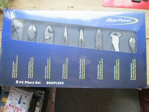 Blue Point Premium 8 Piece Pliers Set In Easy Keep Compact Case New Stock
