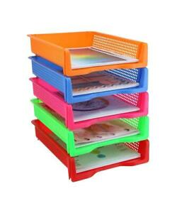 Zilpoo 5 Tier Plastic Desk Letter Organizer Tray Office Document Paper Storage