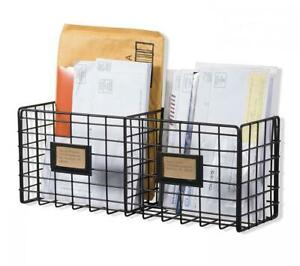 Wall35 Metal Mesh Wire Basket Shelf Desktop Organizer Rack Home Office School