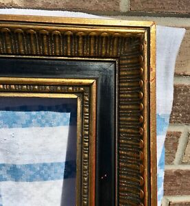 1950 S Renaissance Revival Black Gilt Wood Picture Frame 12x20 Awesome