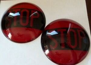 Pair Of Vintage Antique Glass Lens Stop Tail Light Kopp Glass