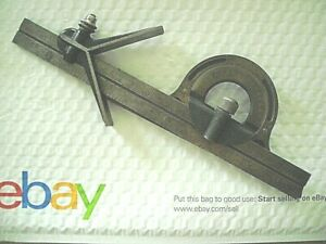 Vintage Starrett Hardened Center Finder 11 Rule And Unmarked Protractor