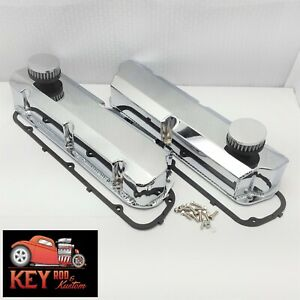 Ford Fabricated Tall Valve Covers Chrome Aluminum 289 302 351w Sbf Breathers