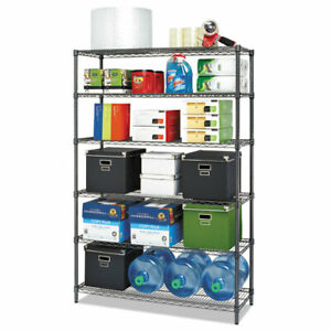 Commercial Wire Shelving Six shelf 48w X 18d X 72h Black Anthracite