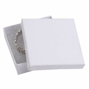 Jewelry Boxes 50 White Matte Finish Cotton Filled Gift 3 X 3 X 1