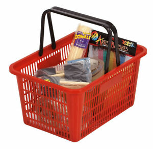 Red Shopping Basket Plastic Retail Merchandise 12 X 17 Supermarket Handles
