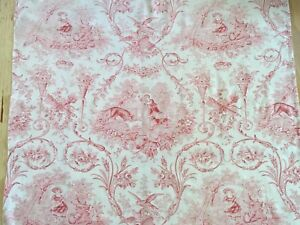Antique French Toile Red And White Floral Scrolls Roses Birds Fox 25 L X 29 W