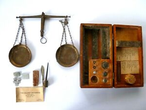 Antique Vintage Brass Or Copper Balance Scale W Wood Box Rare