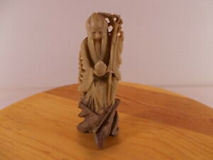 Vary Rare Old Chinese Shou Lao God Of Longevity Hand Carved Soap Stone