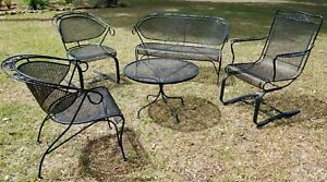 5 Piece Russell Woodard Wrought Iron Patio Furniture Set Mid Century Vintage