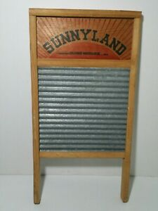 Vtg Sunnyland Columbus Washboard Co Galvanized No 2090 Laundry Wash Board