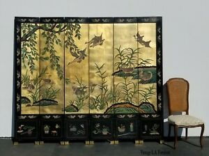 Vintage Asian Oriental Gold Six Panel Screen W Ducks Double Sided Room Divider