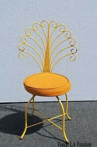 Vintage Hollywood Regency Orange Vanity Peacock Chair Mid Century Modern