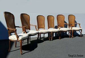 Set Of Six French Country Provincial White Dining Chairs W Double Cane Backrests