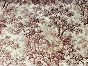 Antique French Toile Fabric Floral Brown Ivory Deer Trees