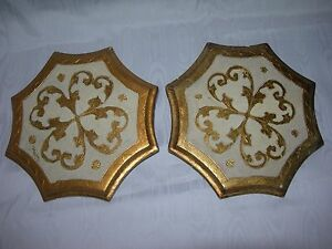 Rare Pair Vintage Florentine Italy Gold Gilt Wooden Toleware Wall Pocket Sconce