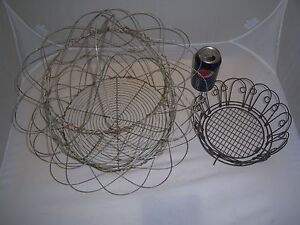 2 Primitive Vintage Multi Position Scalloped Wire Baskets French Country Farm