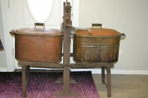 Antique Complete Wringer 686 Wash Rinse Hand Crank With Two Buckets