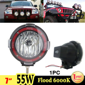 1x 7inch 55w 6000k Xenon Hid Work Light Flood Beam Offroad Atv Suv Truck Boat