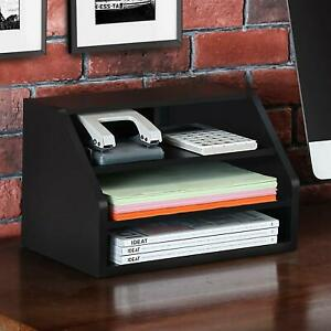 Fitueyes Wood Desktop Suppy Organizer 2 way Usage For Home Office black