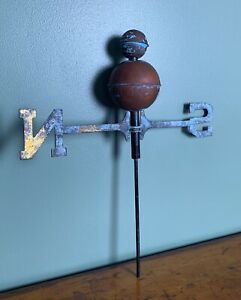 Vintage Brass And Blue Rustic Weathervane Globes N S Only Unique Farm House