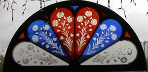 Arched Victorian Wheel Cut Flash Glass Stained Glass Window Rare 1880 S