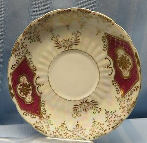 Royal Sealy China Japan Maroon And Gold Saucer