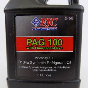 Fjc Pag Oil 100 With Fluorescent Dye Refrigerant Oil 8 Oz 2495