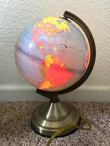 Vintage Mcnally Light Up Lighted World Globe Earth Lamp Map Brass Mcm Bedside Et
