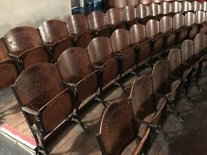 Antique Decorative Iron Wood Theater Seat