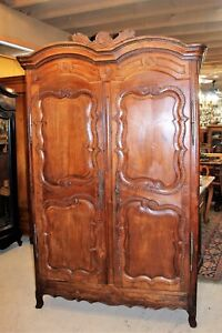 Large French Antique Walnut Louis Xv Armoire 3 Shelf Cabinet Circa 1805