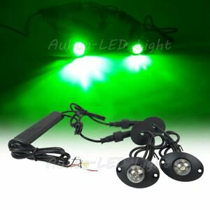 2in1 12w Green Led Hide Away Flashing Vehicle Patrol Strobe Light For Boat Auto