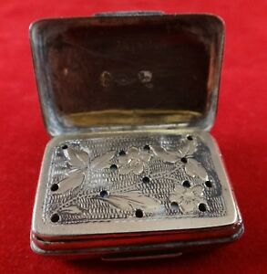 1812 Regency English Sterling Vinaigrette Joseph Willmore Floral Pierced Grill