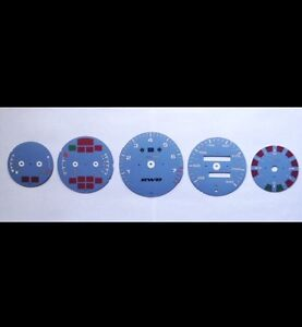 New Porsche 964 993 Gauge Face Dial Set In Kmh Rwb Logo Custom Light Blue