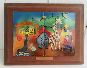 Vintage Copper Enamel Plaque Picture Painting Wall Art Wood Frame Circus Scene