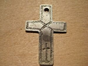 Antique Medieval Silver Pendant Cross 16 17 Century Ad