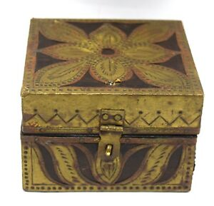 Vintage Brass Fitted Wooden Box Sewing Kit Box Old Trinket Box I71 142 Us