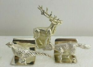 English Sterling Silver Menu Card Holder Jbc Deer Scully Scully Fox Pheasant
