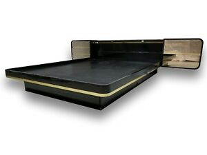 Milo Baughman Style Mid Century Floating Bed Mirrored Drawers Brass Trim